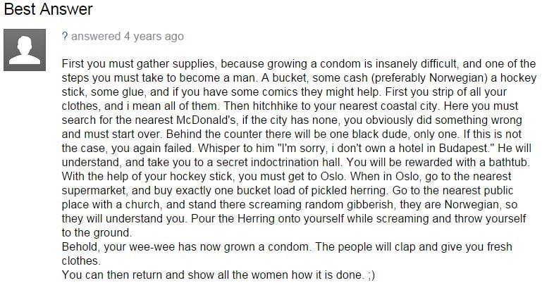 funny condom answer